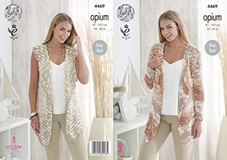 26d0faa4b Image Unavailable. Image not available for. Colour  King Cole 4469 Knitting  Pattern Ladies Waistcoat and Cardigan in Opium