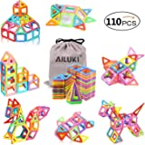 Ailuki 110PCS Magnetic Building Blocks All of Which Are Actual Strong Magnetic Tiles Educational Stacking Blocks Boys Girls Toys for Children Educational and Creative Imagination Development