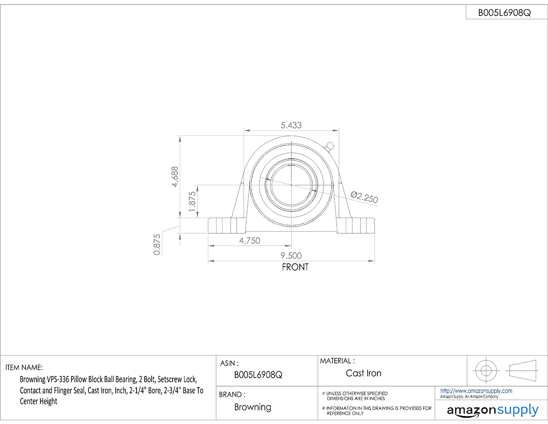 Amazon.com: Browning vps-336 almohada Bloque Ball Bearing, 2 ...