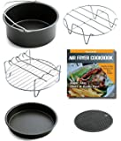 Air Fryer Accessories For Gowise Philips And Cozyna, Fits All 3.7QT - 5.8QT, Non-stick Barrel / Pan + Metal Holder + Multi-Purpose Rack with Skewers and Silicone Mat, Cookbook Included
