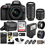 Nikon D3400 DSLR Camera with 18-55mm and 70-300mm Nikkor Lens + Nikon Bag + 32GB Card + Wide & Telephoto Lens + Flash + Filters + Remote and Kit (Black)
