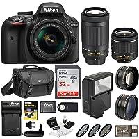 Nikon D3400 DSLR Camera 18-55mm 70-300mm Nikkor Lens + Nikon Bag + 32GB Card + Wide & Telephoto Lens + Flash + Filters + Remote Kit (Black)