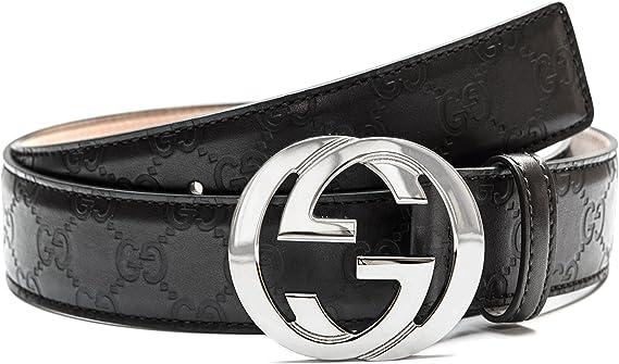 eternamente Tutor falso  Gucci Negro cinturón de plata Hombres y mujeres correa de cuero Negro, 100  % cuero 4 cm de ancho Unisex Cinturones Cinturones exclusivos hebilla de la  plata (90): Amazon.es: Ropa y accesorios