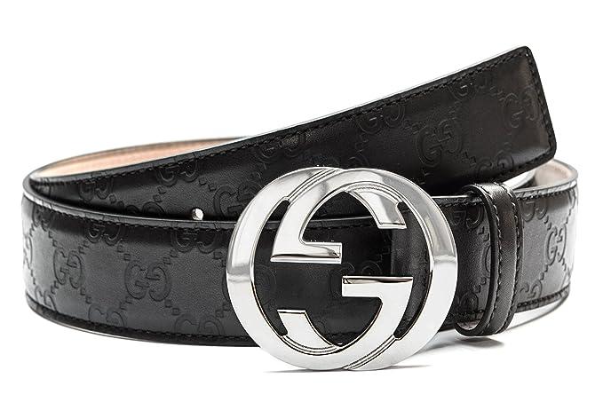 Gucci Negro cinturón de plata Hombres y mujeres correa de cuero Negro  775e78501ca