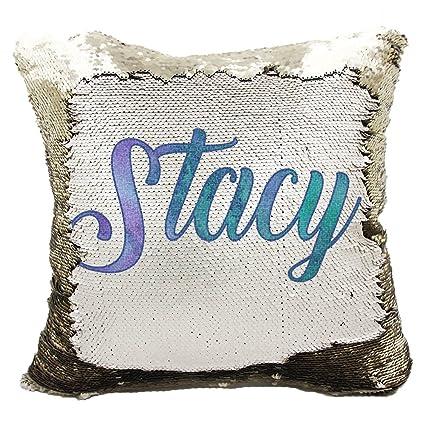 d3c18bbe9cc Amazon.com  Personalized Mermaid Reversible Sequin Pillow