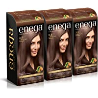 Enega Cream hair color (100 ml/each) superior quality with Argan Oil & Green Tea extract NO AMMONIA Cream FORMULA smooth care for your precious hair! CHOCOLATE BROWN 3.5 (Pack of 3)