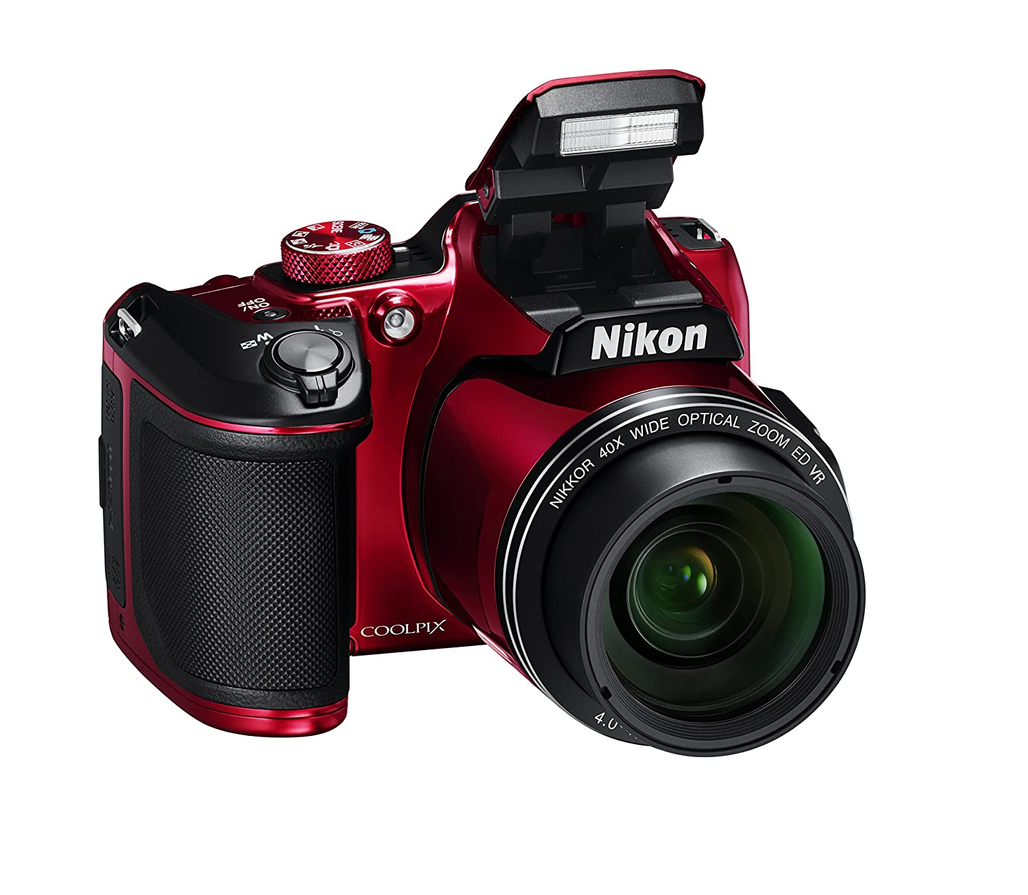 Nikon Coolpix B500 Fotocamera Digitale Compatta, 16 Megapixel, Zoom 40X, VR, LCD Inclinabile 3, Full HD, Bluetooth, Wi-Fi, Rosso