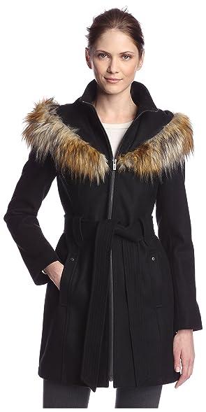 RACHEL Rachel Roy Women's Faux Fur Trimmed Coat at Amazon Women's ...