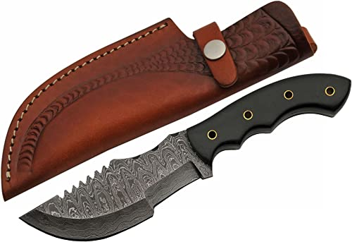 SZCO Supplies Damascus Steel Micarta Tracker Style Knife Damascus Steel Knife
