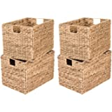 Decorative Hand-Woven Water Hyacinth Wicker Storage Baskets, Set of Four 16x11x11 Baskets Perfect for Shelving Units