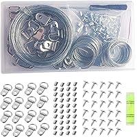 105 stuks Picture Hanging Tool Kit, met Picture Wire, D Ring, Krimplus mouw, schroeven, schroevendraaier en Bubble Level…
