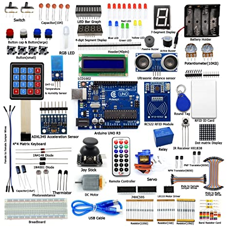 Adeept RFID Starter Kit for Arduino UNO R3 from Knowing to Utilizing,  Servo, RC522 RFID Module, PS2 Joystick, Beginner Starter Learning Kit with