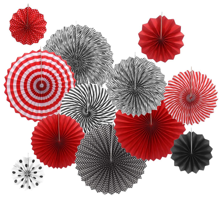 Amazon.com: 12 piezas rojo negro ventilador de papel para ...