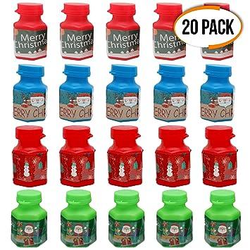 THE TWIDDLERS 20pcs Pomperos De Jabon, Liquido Burbujas De Jabón Navideñas para Niños Ideal para La Mesa De Fiestas Navidad, Calcetines Y Bolsas De ...
