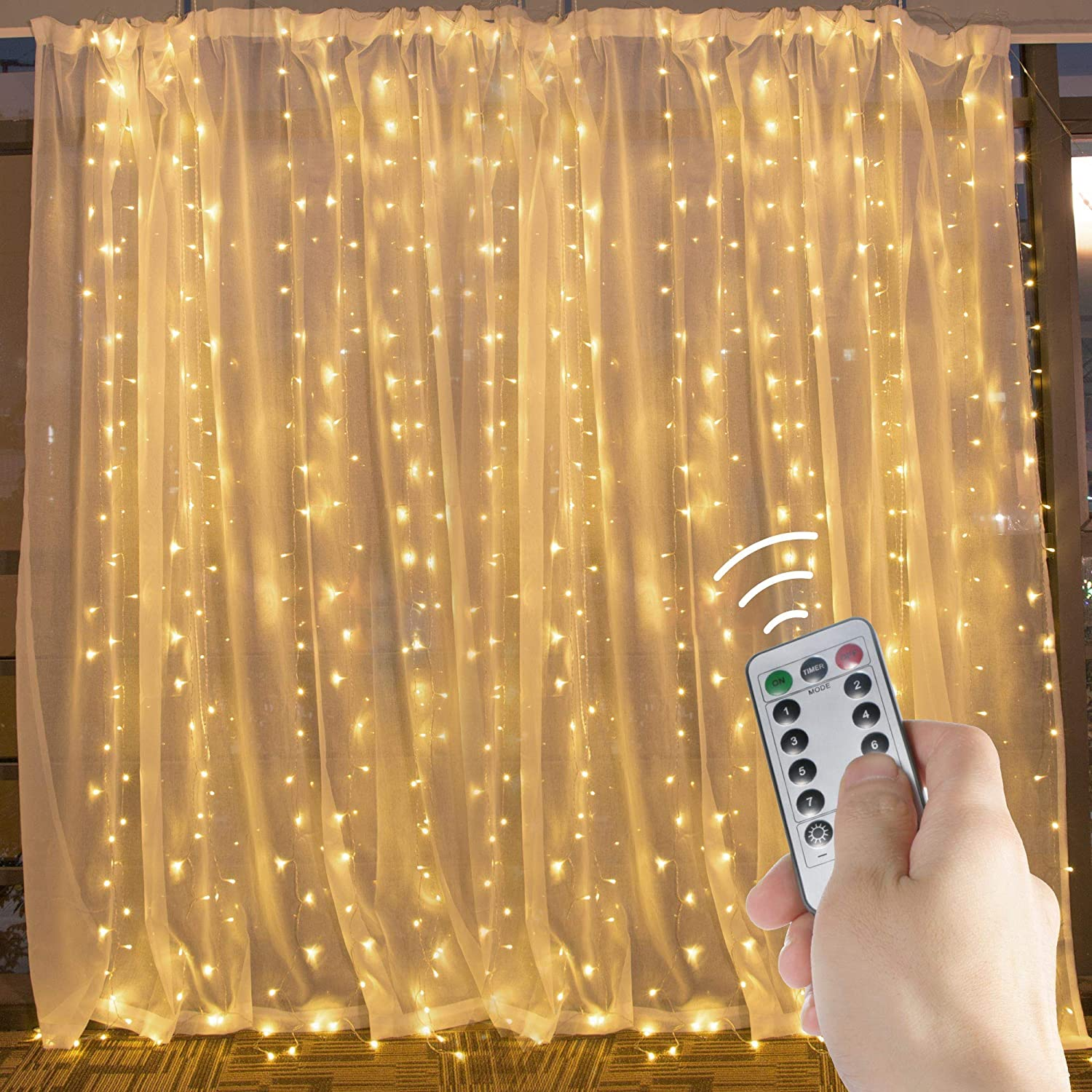 Window Curtain String Lights 20 Ft. 600 LED Fairy Twinkle Lights with Remote, Timer, 8 Modes for Room Wedding Party Backdrop Outdoor Indoor Decoration, Warm White, Unconnectable, Curtain Not Included