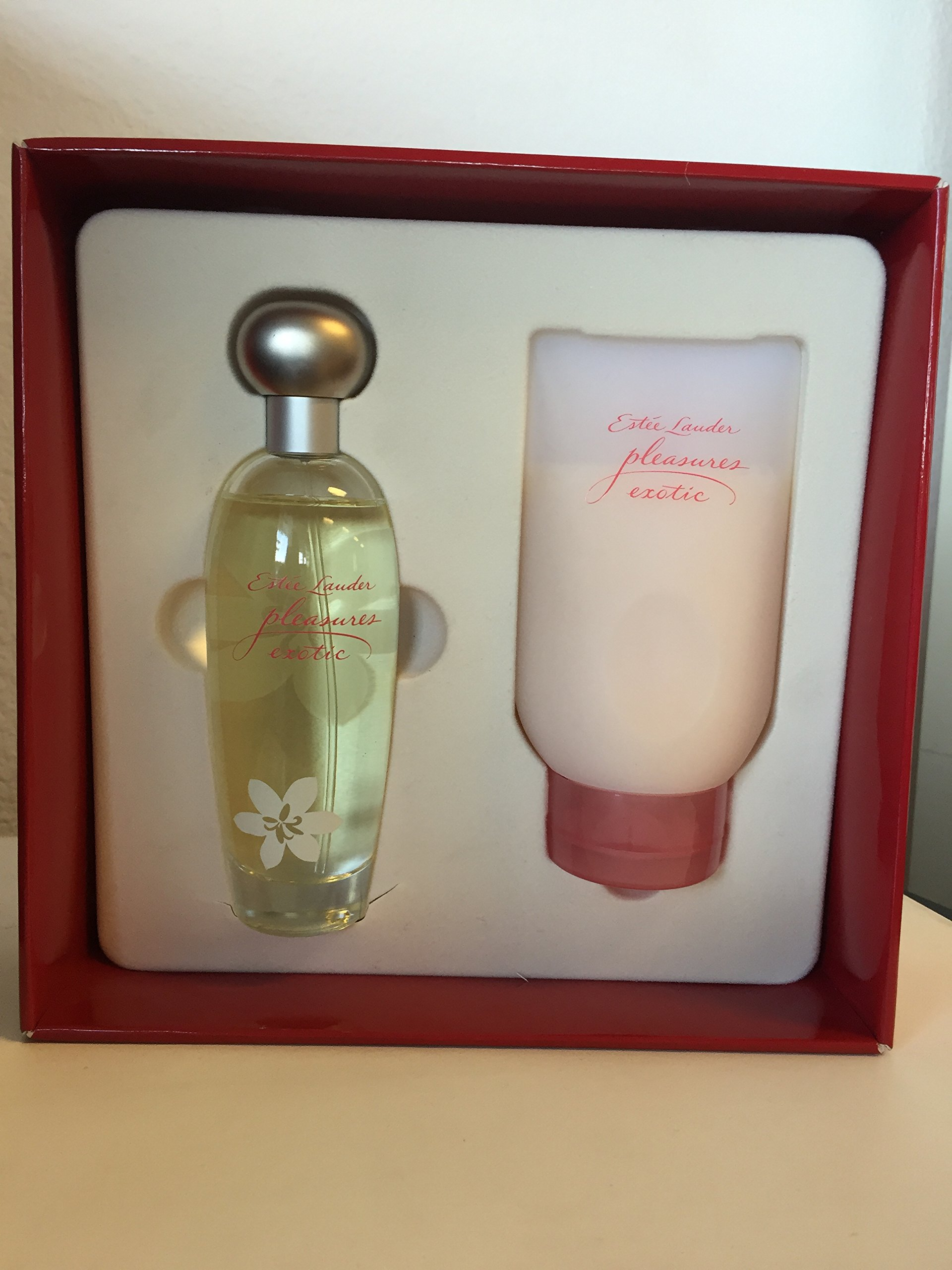 Pleasures Exotic By Estee Lauder for Women 3.4 Oz EDP Spray + 5.0 Oz Shower Gel