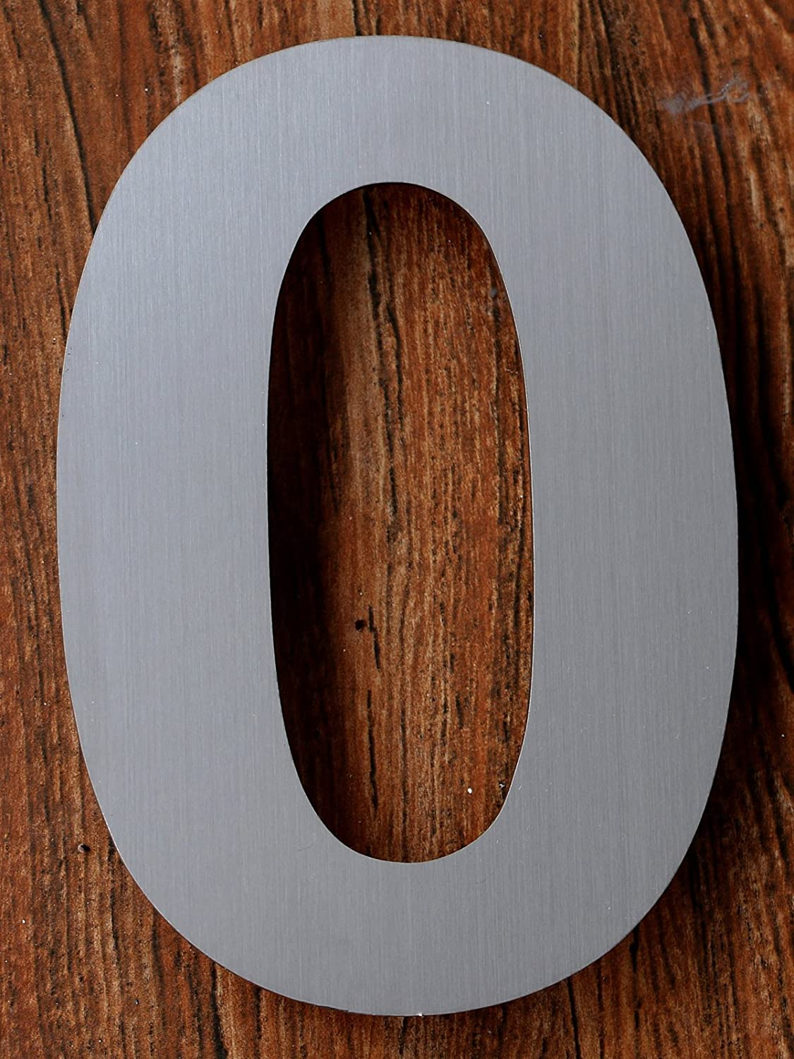 Modern House Number - 6 Inch, Brushed Stainless Steel (Number 0 zero), Floating Appearance, Easy to install and made of solid 304 stainless steel