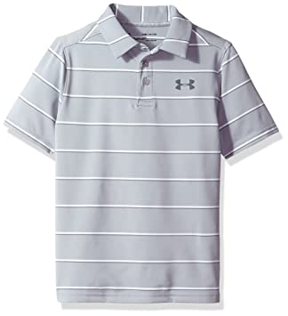 b2c99577c Under Armour Boys' Playoff Stripe Polo Shirt,Overcast Gray (941)/Rhino