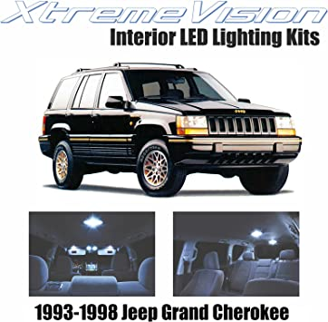 Amazon Com Xtremevision Interior Led For Jeep Grand Cherokee 1993 1998 9 Pieces Cool White Interior Led Kit Installation Tool Automotive