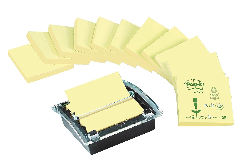 Post-It Z notes C2014-Y12-1-F - Dispensador de notas adhesivas (incluye 12 tacos de 100 notas adhesivas), translúcido: Amazon.es: Oficina y papelería
