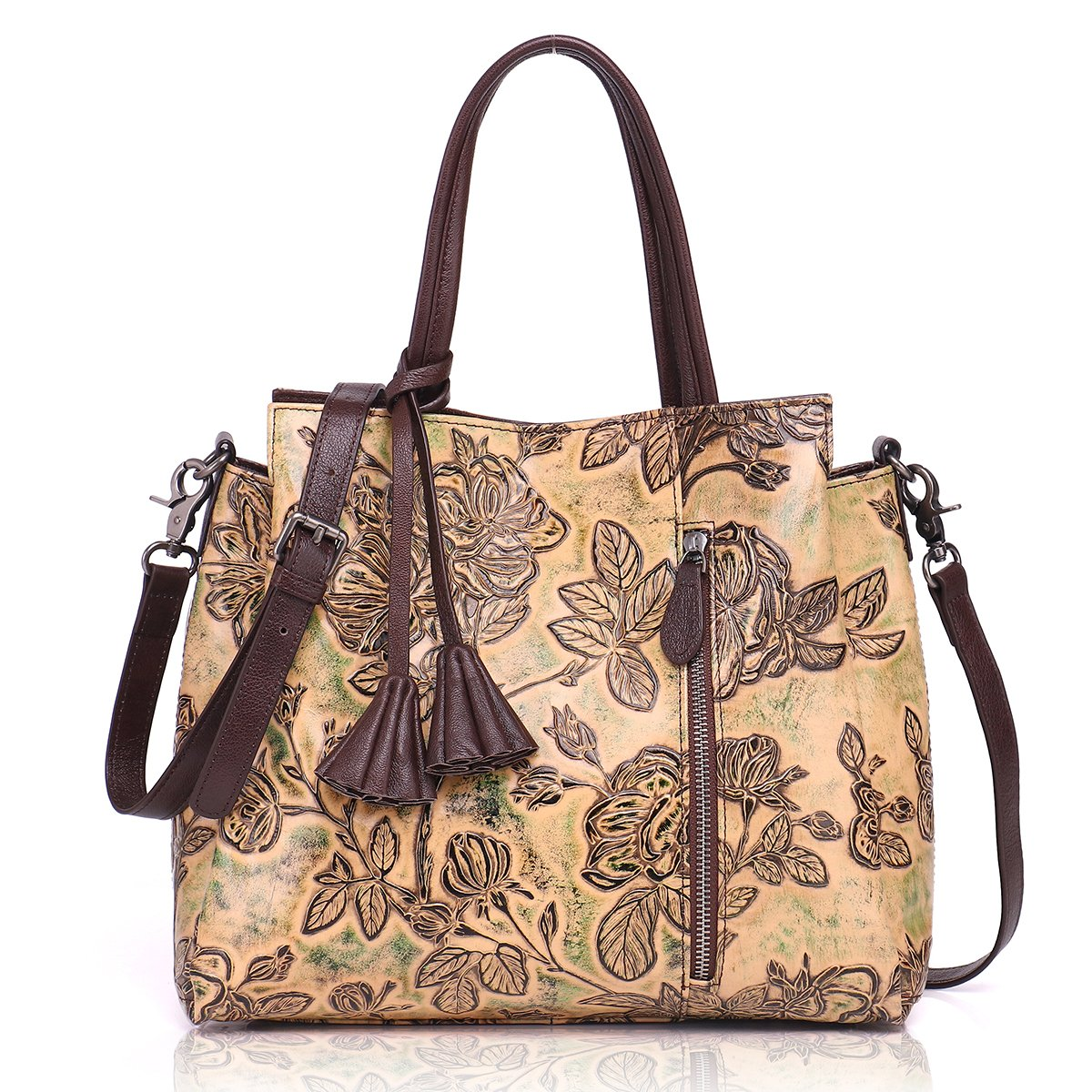 APHISON Designer Unique Embossed Floral Cowhide Leather Tote Style Ladies Top Handle Bags Handbags (BROWN)