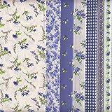 6 Coupons Tissus (Bleu saphir) | 100% coton | 46 x 56 cm chacun