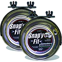 MidWwest Homes for Pets Snap'y Fit Stainless Steel Food Bowl / Pet Bowl, 1 qt. for Dogs & Cats (2 Pack)
