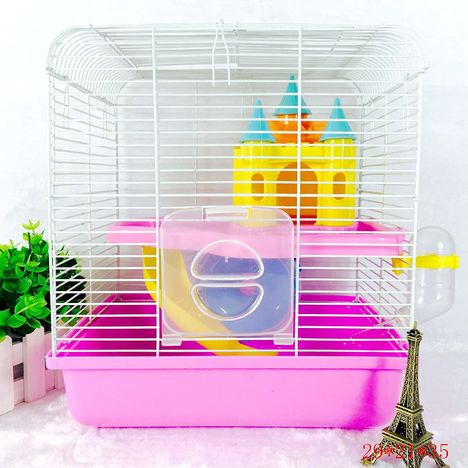 ESOCOME Pet Supplies Double Layer Hamster Small Castle Animal Couple Cage and Habitat