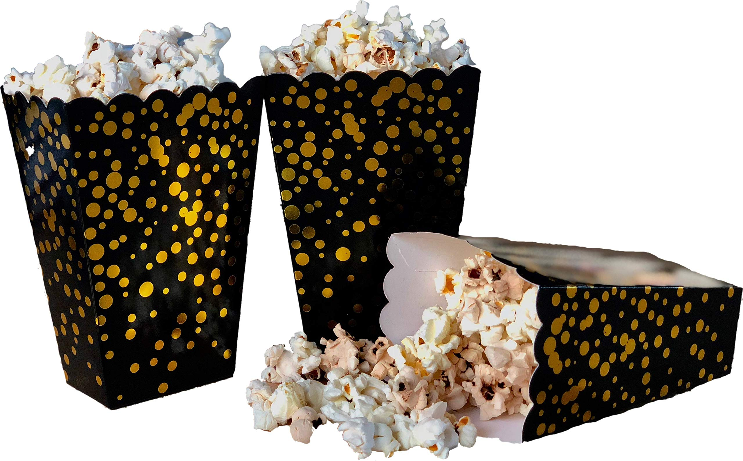 Favor Boxes - 50 Pack 20oz Popcorn boxes - Black with Gold Foil dot sprinkles - Perfect for Birthday, Christmas, Graduation, Cocktail and NYE Party Celebration - 3'' x 3'' x 5''