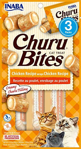 INABA Churu Bites – Soft Baked Chicken Filled with Churu Puree – Natural Cat Treats