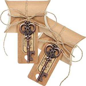 100 Sets Metal Large Skeleton Key Bottle Openers Wedding Favor Souvenir Gift Set Pillow Shape Candy Box Escort Tag Card Flax Rope and Stickers for Guests ?Antique Copper?