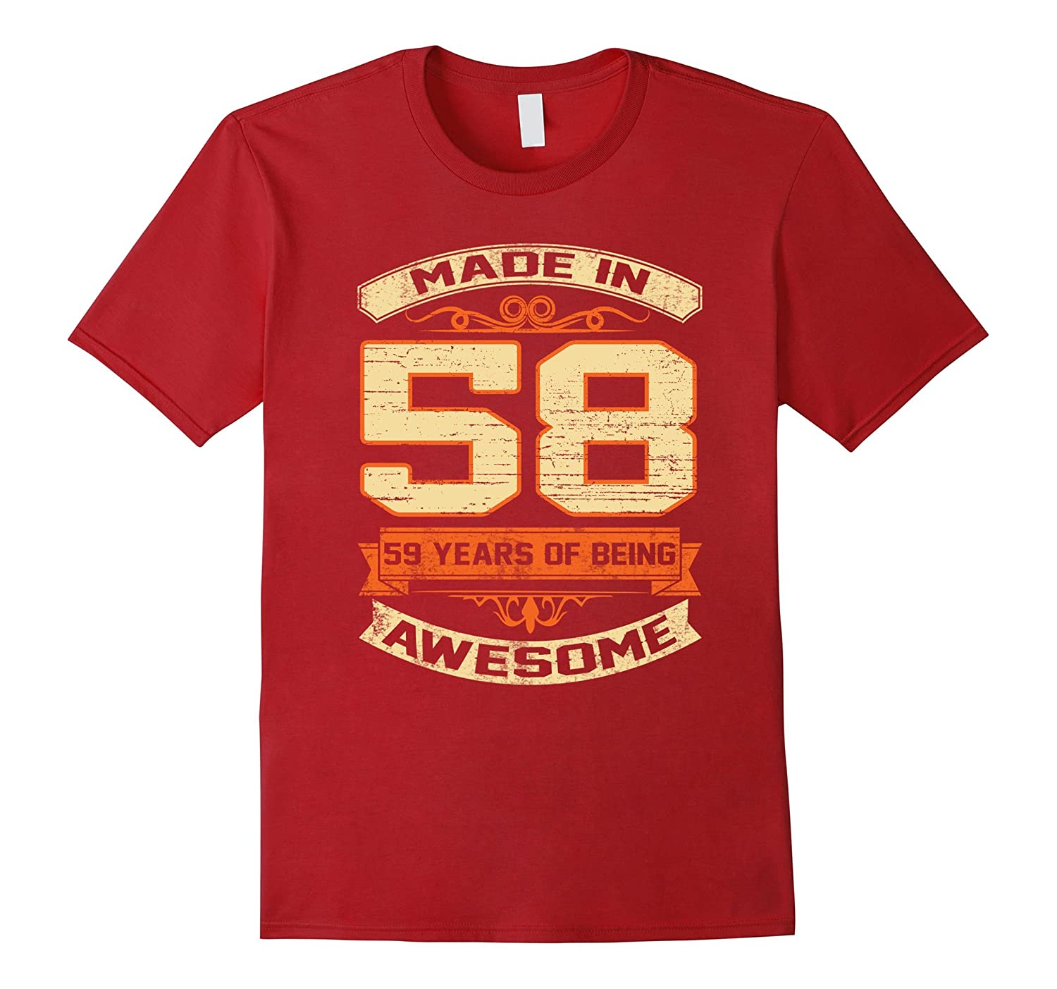 59 years old 59th Birthday Gift T-Shirt – Made In 1958 (58)