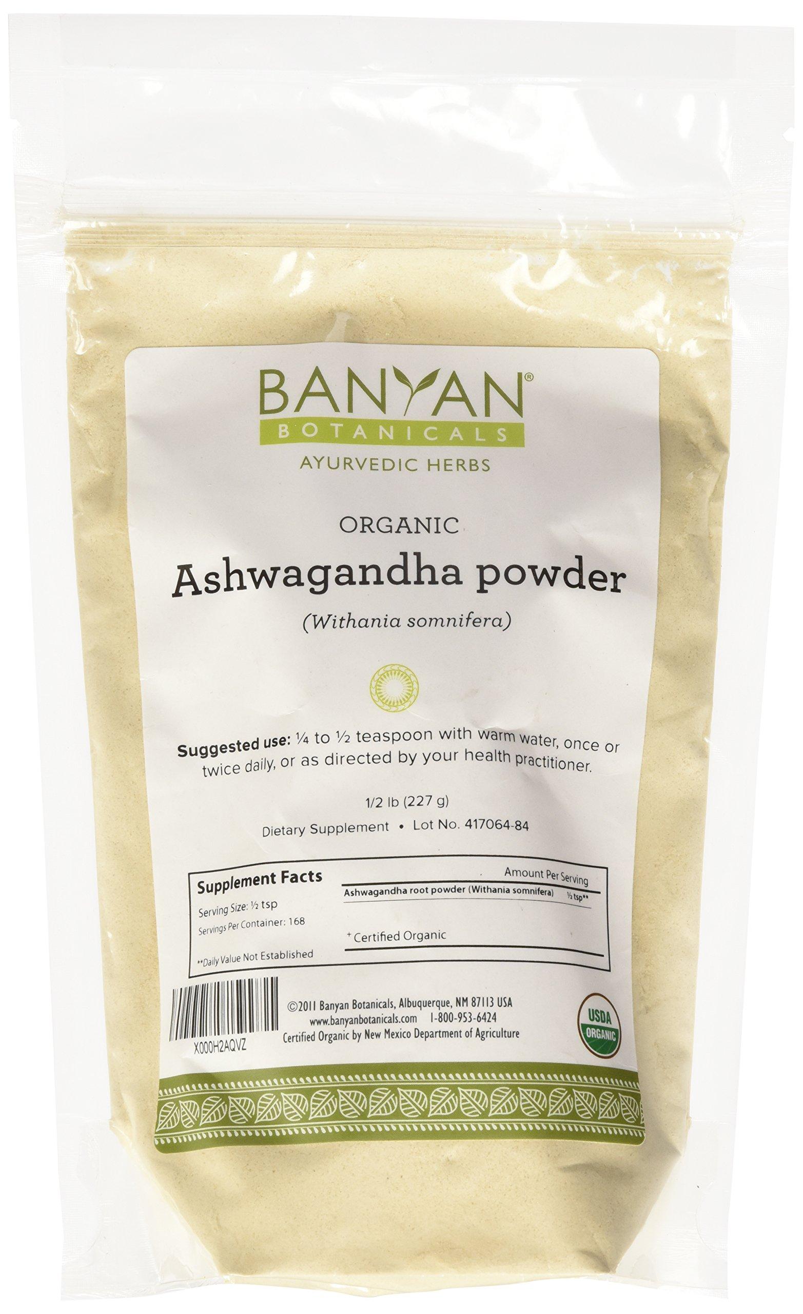 Banyan Botanicals Ashwagandha Powder - USDA Certified Organic, 1/2 Pound - Adaptogenic Ayurvedic Herbal Supplement That Promotes Vitality & Strength - Support for Stress-free Living!