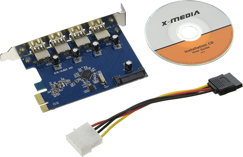 X-MEDIA 4-Port USB 3.0 PCI Express x1 Host Controller Card, PCI-E to USB 3.0 Expansion Card [XM-UB3204]