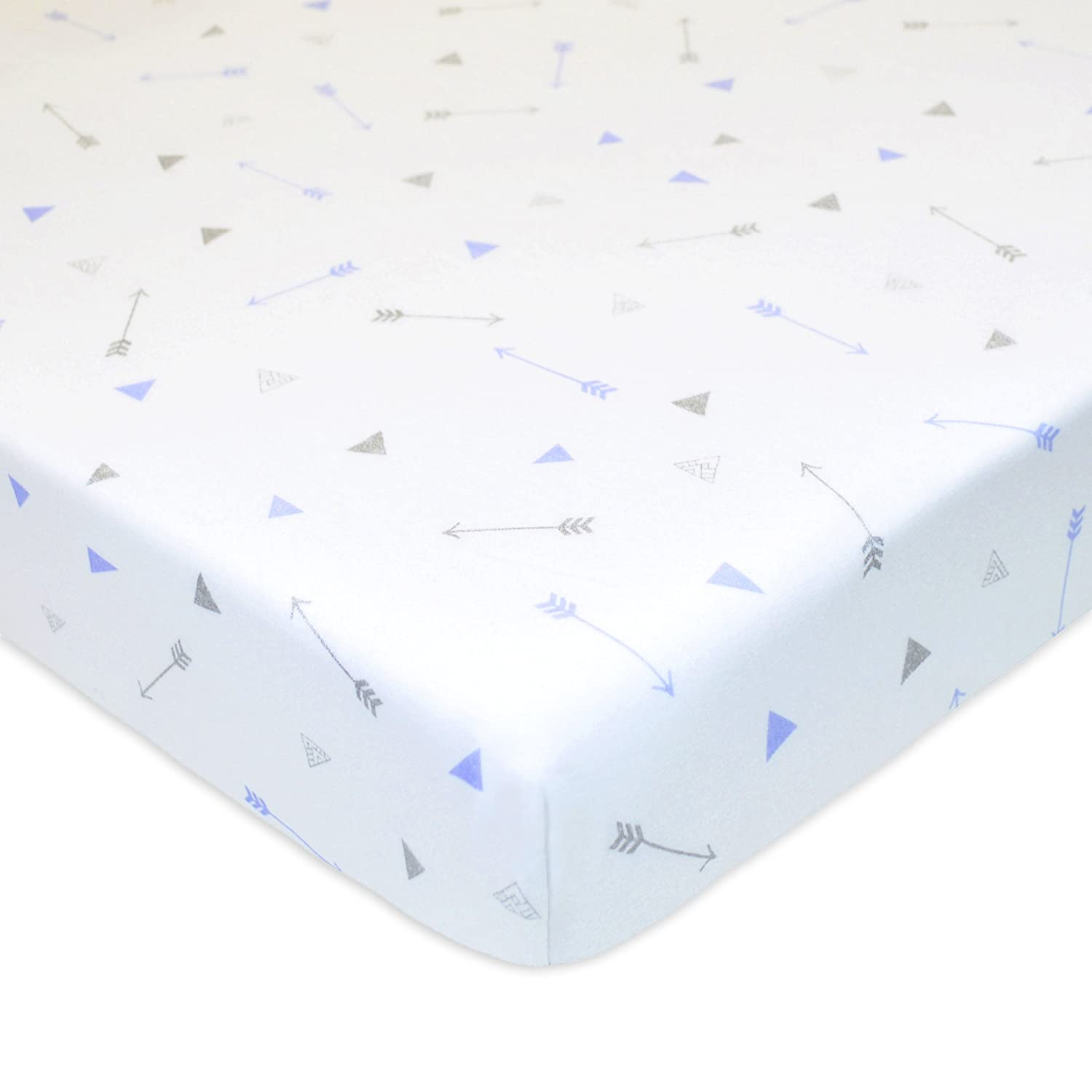 Blue Zigzag for Boys and Girls American Baby Company Printed 100/% Cotton Jersey Knit Fitted Crib Sheet for Standard Crib and Toddler Mattresses