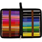 US Art Supply 50 Piece Adult Coloring Book Artist Grade Colored Pencil Set, Plastic Carry Case and Bonus Zippered Carry Case