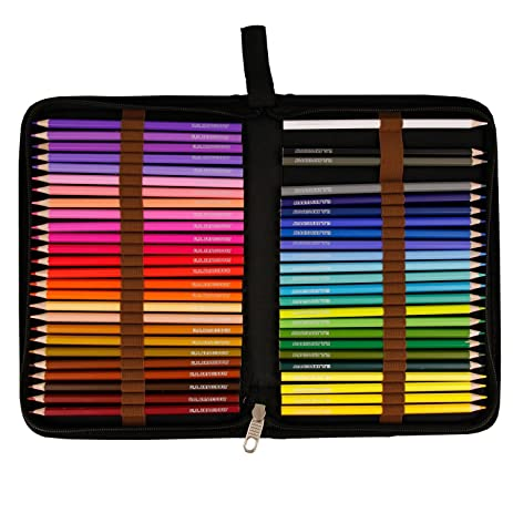 US Art Supply 50 Piece Adult Coloring Book Artist Grade Colored Pencil Set Plastic Carry
