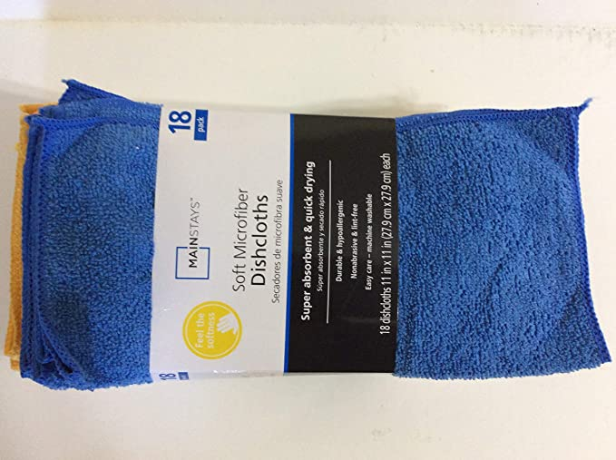 Amazon.com: Walmart Soft Microfiber All Purpose Cleaning Towels/Dish Cloths, Superabsorbent and Quick Drying, 18 Pack: Home & Kitchen