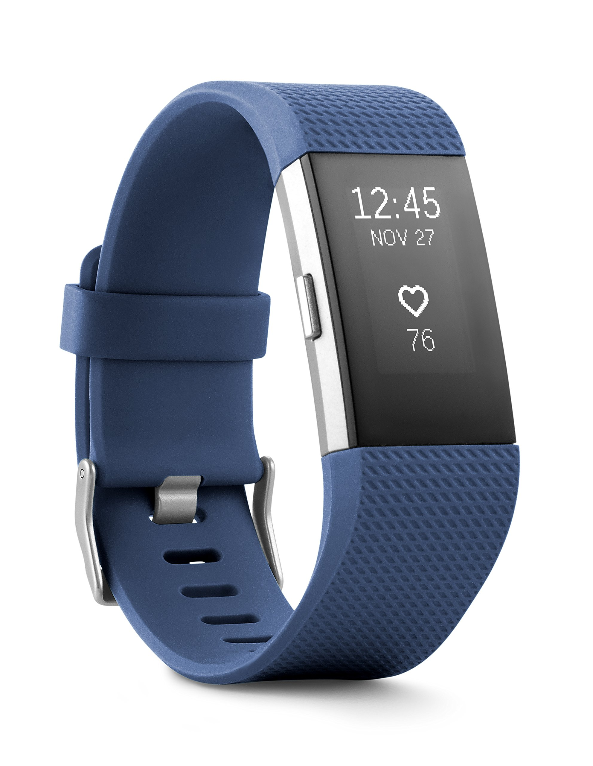 Fitbit Charge 2 Heart Rate + Fitness Wristband, Blue, Large (US Version), 1 Count by Fitbit