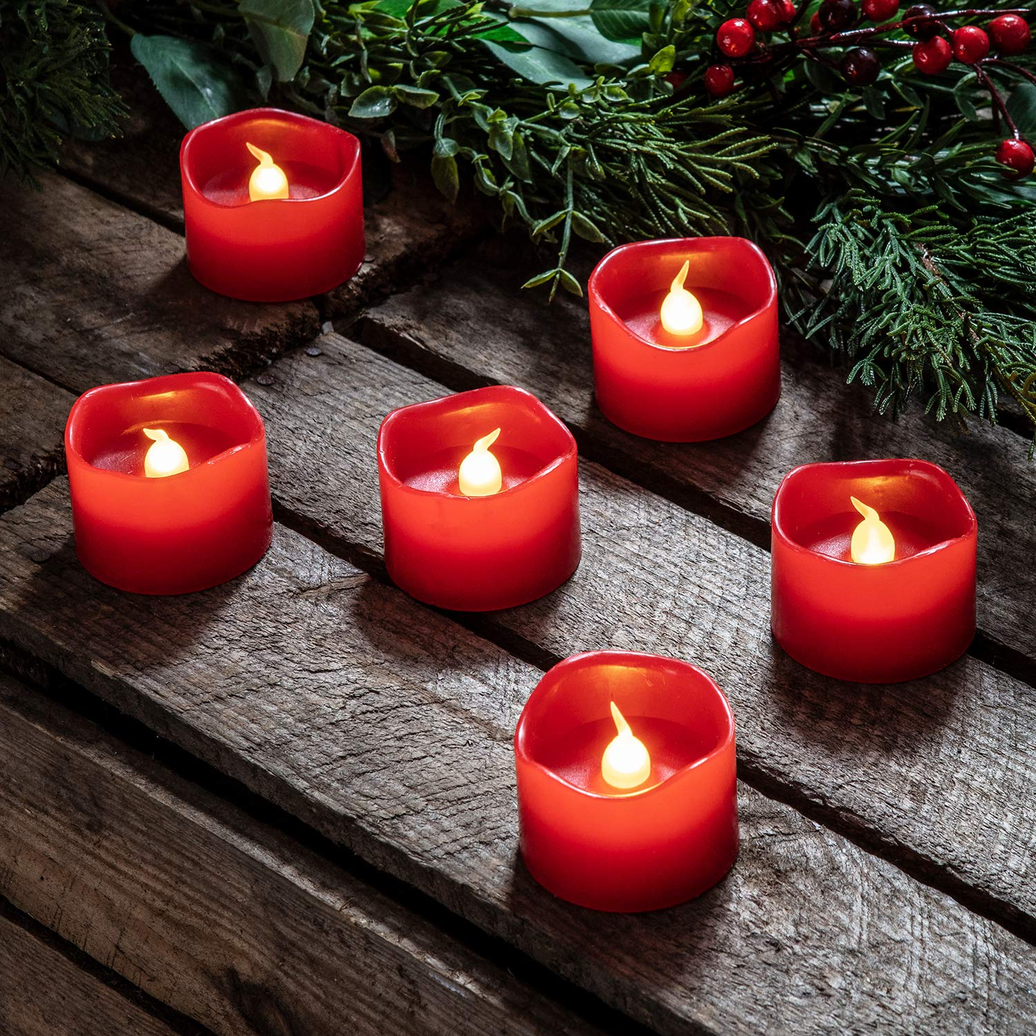 Lights4fun Inc. Set of 6 Red Wax Battery Operated Flameless LED Votive Candles