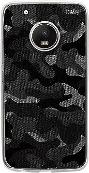Capa Personalizada Camuflada Militar Cinza, Husky para Moto G5 Plus, Capa Protetora para Celular, Preto/Branco