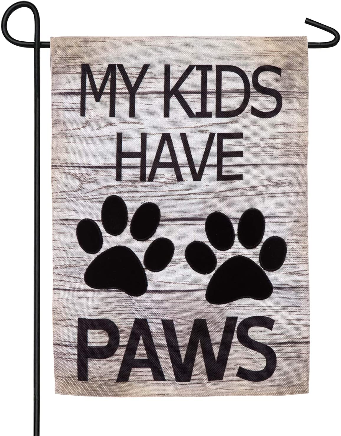 Evergreen Flag My Kids Have Paws Burlap Garden Flag - 12.5 x 18 Inches Outdoor Decor for Homes and Gardens