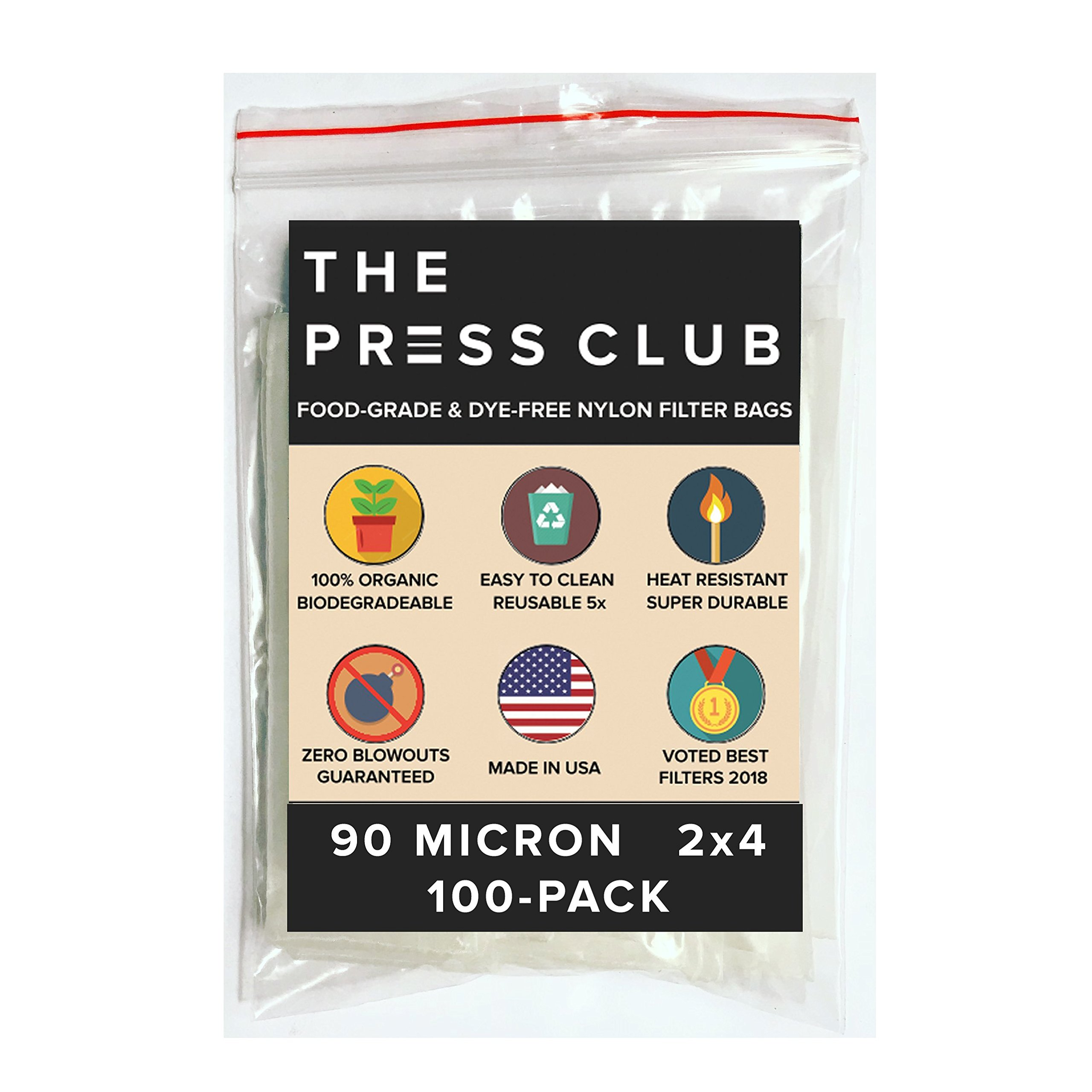 90 Micron | Premium Nylon Tea Filter Press Screen Bags | 2'' x 4'' | 100 Pack | Zero Blowout Guarantee | All Micron & Sizes Available by The Press Club