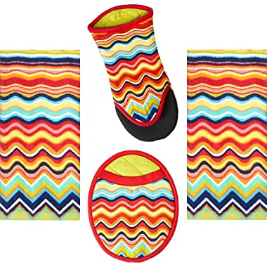 4 Piece Fiesta Multicolor Zig Zag Kitchen Set - 2 Terry Towels, Puppet Oven Mitt, Oval Pocket Mitt