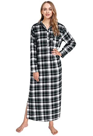 3fdf96b685 Latuza Women s Plaid Flannel Nightgowns Full Length Sleep Shirts S Black    Green