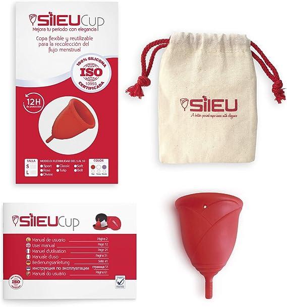Copa Menstrual Sileu Cup Rose - Modelo de iniciación sencillo de colocar - Ayuda a prevenir infecciones urinarias y la cistitis - Talla S, Rojo, ...