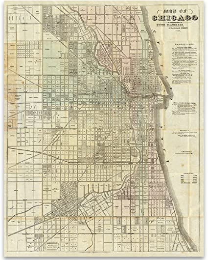 photograph about Printable Maps of Chicago known as Map of Chicago 1857 Artwork Print - 11x14 Unframed Print - Suitable Common Property Decor Down below $15