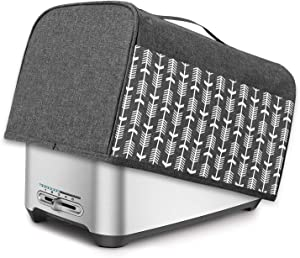 Yarwo 4 Slice Toaster Cover with Pockets and Top Handle, Nylon Toaster Cover Fits for Most 4 Slice Long Slot Toasters, Gray with Arrow