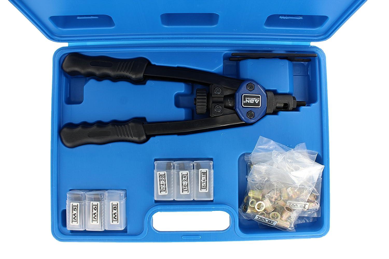 "Riveting Nuts ABN Nut /& Thread Hand Riveter 17-Piece Tool Kit Set SAE /& Metric Nose Sets 13/"" Inch Rivet Setter Gun"