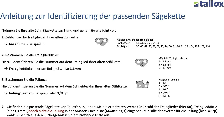 """1,3mm 5 X  gardexx Sägekette für STIHL MSE 230 55 TG 40cm 3//8/"""""""